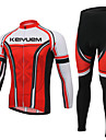 KEIYUEM® Cykeltröja och tights Unisex Lång ärm CykelAndningsfunktion / Håller värmen / Snabb tork / Bärbar / Kompression / 3D Pad /