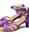 Buric / Latin / Pantofi Dans / Modern / Salsa / Samba / Swing-Pantofi de dans(Violet / Auriu) -NePersonalizabili-Damă