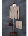 Costume Fit Croit Vârf Un singur rând, un nasture Poliester Striat / Gingham 3 Bucăți Khaki Drept cu Clapă Fără (Front Drept) KhakiFără