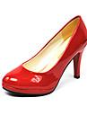 Homme-Decontracte-Noir / Rouge / Blanc-Talon Aiguille-Talons-Chaussures a Talons-Cuir Verni