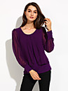 Women\'s Plus Size Solid Black/Purple T-shirt,Casual Round Collar Long Lantern Sleeve