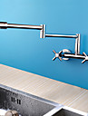 Contemporain Rustique Moderne Pot Filler Set de centre Pivotant with  Soupape ceramique Deux poignees Deux trous for  Chrome , Robinet de