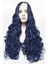 """longue de 24 perruque bleu boucles mode """"long cheveux boucles perruque bleu anime synthetique cheveux perruque cosplay pour les femmes"""