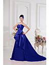 Formal Evening Dress - Elegant A-line Notched Court Train Satin with Draping
