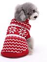Katter Hundar Tröjor Röd Blå Hundkläder Vinter Vår/Höst Randig Gulligt Jul Nyår