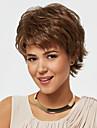 brun färg kort lockiga peruker Capless syntetiska peruker för kvinnor