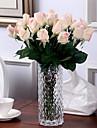 10 10 ramură PU Trandafiri Față de masă flori Flori artificiale 55CM