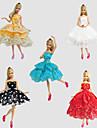 Fete / Soiree Robes Pour Poupee Barbie Rouge / Dore / Blanc / Noir / Bleu Lace Robes Pour Fille de Doll Toy