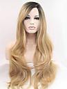 couleur blonde hyper vague synthetique front perruque de dentelle pour les femmes noires la moitie mains liees resistant a la chaleur