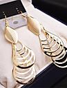 La modă Placat Auriu Aliaj Oval Shape Auriu Argintiu Bijuterii Pentru Nuntă Petrecere Casual 1 pereche