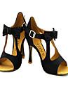 Customizable Women\'s Dance Shoes Latin/Salsa Flocking Customized Heel Yellow/Red