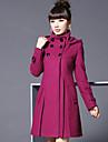 Femei Palton Plus Size Șic Stradă,Mată Manșon Lung Iarnă Capișon-Roșu / Negru / Gri / Verde Gros Poliester
