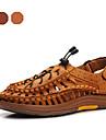 herrskor utomhus / tillfälliga nappa lädersandals brun / guld