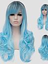 cheveux longs micro bleu volume d\'eau et le vent discotheque rue des performances couleur millions avec une perruque partielle.