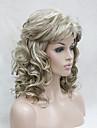 nytt mode honung aska blond vidskepelse blekt blont lockigt medellång syntetisk peruk