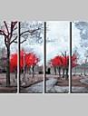 Landskap / Botanisk Canvastryck Fyra paneler Redo att hänga , Vertikal