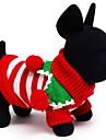 Chat / Chien Pull Rouge / Vert / Blanc Vetements pour Chien Hiver / Printemps/Automne Rayure Vacances / Garder au chaud / Noel