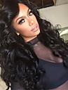 longue vague naturelle du corps de couleur noire brazilian vierge cheveux humains glueless perruque avant de lacet avec des cheveux de