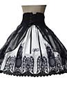 Jupe Doux Lolita Cosplay Vetrements Lolita Noir Imprime Sans manche Moyen Robe Pour Terylene