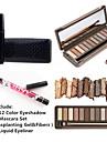 12 färgar ögonskugga vattentät ögat lash mascara uppsättning&2x vattentät flytande eyeliner