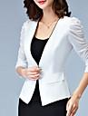 Mulheres Blazer Trabalho Plus Sizes / Simples Todas as Estacoes,Solido Branco / Preto Poliester Decote em V Profundo Manga ¾ Fina