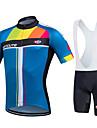 fastcute Maillot et Cuissard a Bretelles de Cyclisme Femme Homme Unisexe Manches courtes VeloCuissard a bretelles Maillot Collant a