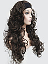halv peruk 3/4 peruker med pannband långt lockigt syntetiskt hår peruk för kvinnor