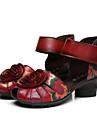 Femme Chaussures a Talons Cuir Ete Decontracte Fleur Gros Talon Plateforme Noir Rouge 2,5 a 4,5 cm
