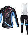 MALCIKLO® Maillot et Cuissard Long a Bretelles de Cyclisme Homme Manches longues VeloRespirable / Sechage rapide / Zip frontal /