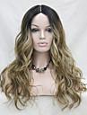 synthetique resistant a la chaleur de haute qualite Omber racine noir / lumiere doree brun mix gloden ondules blonds avant de dentelle