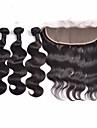 Trame cheveux avec fermeture Cheveux Indiens Ondulation naturelle 4 Pieces tissages de cheveux