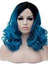 longs cheveux boucles bleu et le vent discotheque rue des performances couleur millions perruque partielle.