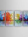 HANDMÅLAD Abstrakt olje~~POS=TRUNC,Moderna Fyra paneler Kanvas Hang målad oljemålning For Hem-dekoration
