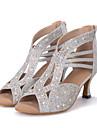 Chaussures de danse(Noir / Argent / Or) -Personnalisables-Talon Bobine-Paillette Brillante-Latine / Jazz / Moderne / Chaussures de Swing