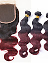 Trame cheveux avec fermeture Cheveux Bresiliens Ondulation naturelle 12 mois 4 Pieces tissages de cheveux