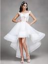 A-라인 웨딩 드레스 - 쉬크&모던 비대칭 오프 더 숄더 오간자 와 레이스 / 비즈