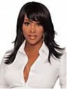långt hår svart färg raka syntetiska peruker för kvinnor