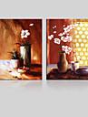 toile set / Unframed Toile Paysage / A fleurs/Botanique Modern / Traditionnel,Deux Panneaux Toile Verticale Imprimer Art Decoration murale
