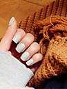 nagelband ljusgrå frostat kort stycke elegant och sexig 24 st / set