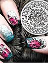 2016 senaste versionen mode mönster ros blomma nail art stämpling bild mall plattor