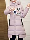 Dame Simplu(ă) / Șic Stradă Lung Căptușit Palton,Imprimeu Ieșire / Casul/Zilnic Manșon Lung Poliester Poliester CapișonAlbastru / Roz /