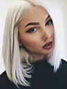 longueur moyenne couleur blanche bob synthetique stratifie avant de dentelle droite resistant a la chaleur perruque pour les femmes noires