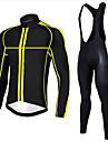 Sportif Maillot et Cuissard Long a Bretelles de Cyclisme Homme Manches longues VeloRespirable / Sechage rapide / Design Anatomique / Zip
