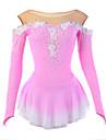 Ice Skating Dress Women\'s Long Sleeve Skating Dresses High Elasticity Figure Skating Dress Breathable / Wearable Flower(s) / LaceSpandex