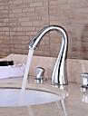 vattenfall med keramisk ventil två handtag tre hål för krom, badrum handfat kran