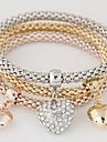 Dame Brățări cu Talismane Ștras imitație de diamant Aliaj stil minimalist La modă Heart Shape Curcubeu Bijuterii 1set