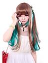 Perruques de lolita Doux Degrade de Couleur Long Droite Marron Vert Perruque Lolita  60 CM Perruques de Cosplay Mosaique Perruque Pour