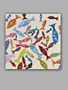 Peint a la main Abstrait / Animal Peintures a l\'huile,Modern / Classique Un Panneau Toile Peinture a l\'huile Hang-peint For Decoration