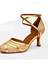Customizable Women\'s Dance Shoes Leather Sparkling Glitter Synthetic Leather Sparkling Glitter Synthetic Latin Heels Customized Heel