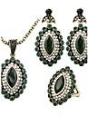 Kubisk Zirkoniumoxid Brudkläder Klassisk lyxiga smycken Turkos Grön 1 Halsband 1 Par Örhängen 1 Ring För Bröllop Party Casual 1set
